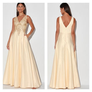 Lulus My Lover Champagne Embroidered Maxi Dress